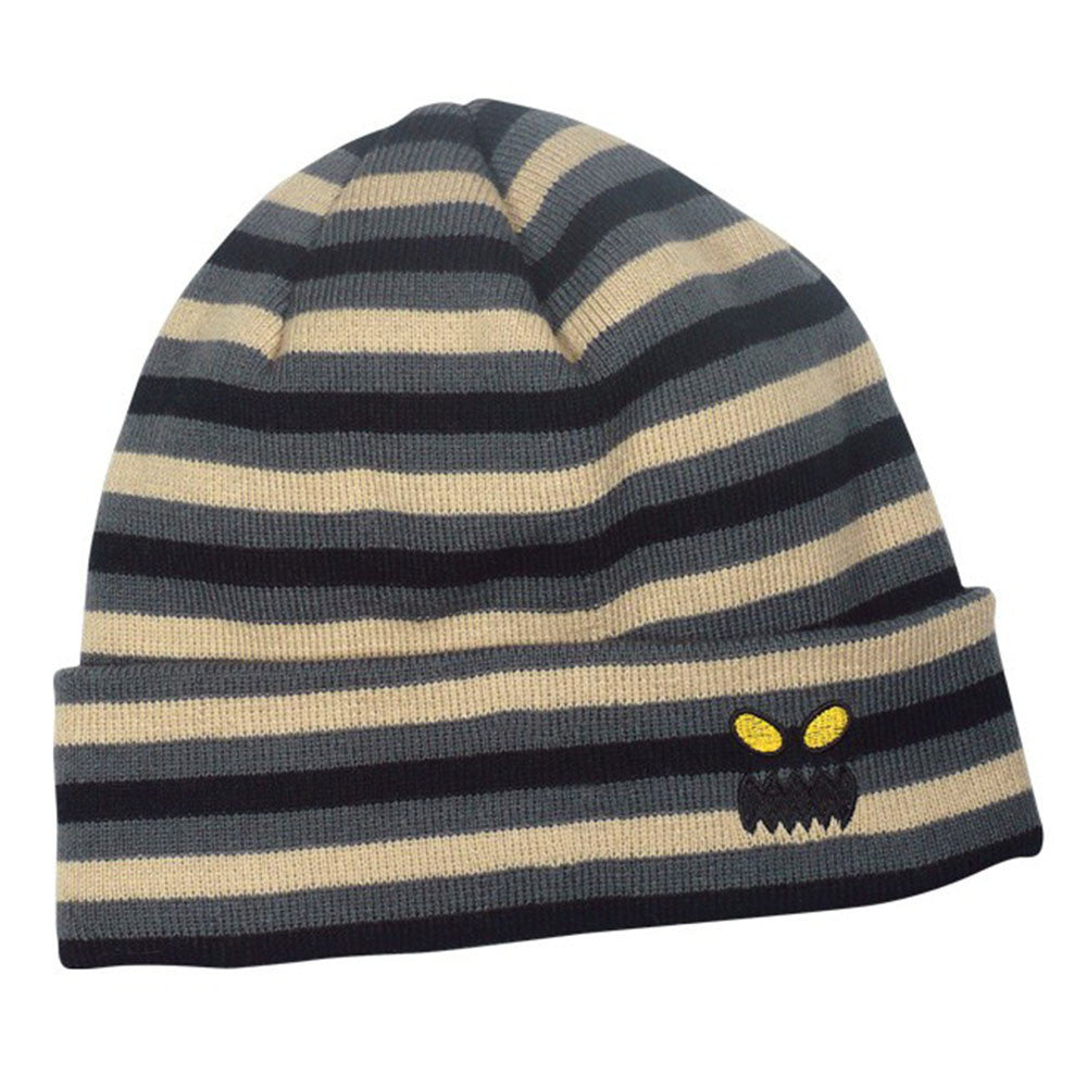 Toy Machine Monster Face Stripe Beanie Men s Beanie - Grey Tan ... f37a4920c79