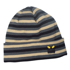 Toy Machine Monster Face Stripe Beanie Men's Beanie - Grey/Tan