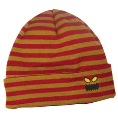 Toy Machine Monster Face Stripe Beanie Men's Beanie - Red/Brown