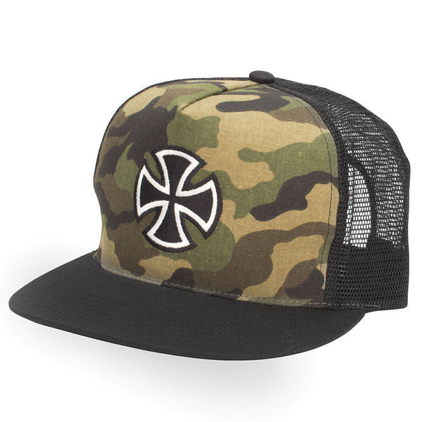 Independent Outline Cross Men's Trucker Hat - Camo/Black