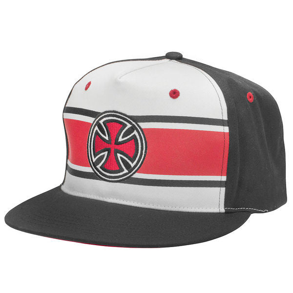 Independent Strip Cross Adjustable Snapback Men's Twill Hat - Black/White