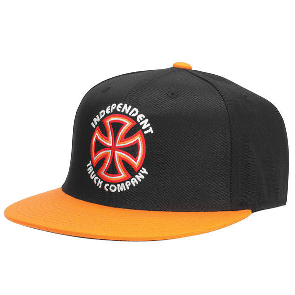 Independent Bauhaus Cross FlexFit Fitted Stretch - Black/Orange - Men's Hat