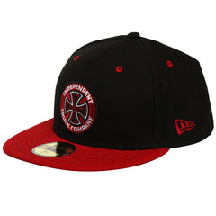 Independent Colored TC New Era 59 Fifty Fitted Men's Hat - Black/Red - 7 1/4