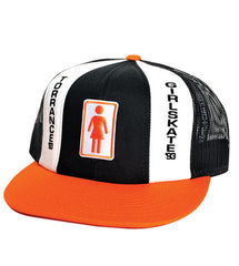 Girl Tri-Tone Mesh Snapback Men's Hat - Orange/Black