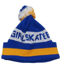 Girl Type Pom Men's Beanie - Blue/Yellow/White