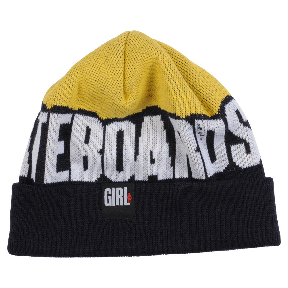 Girl Big Weave Men's Beanie - Black/Yellow