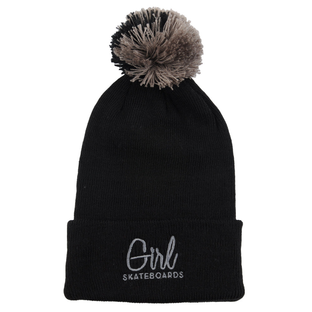 Girl Century Embroidered Pom Men's Beanie - Black