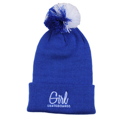 Girl Century Embroidered Pom Men's Beanie - Royal