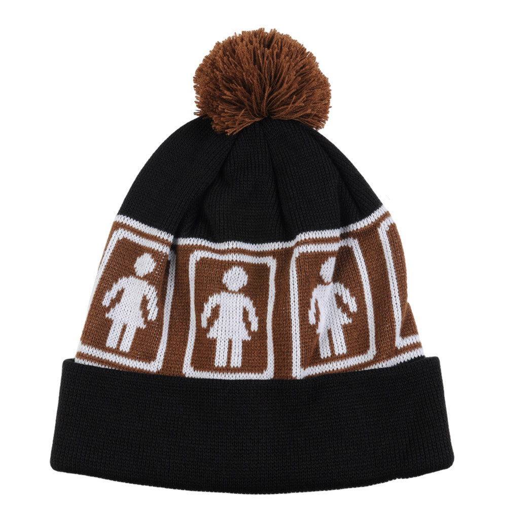Girl OG Pom Men's Beanie - Brown/Black
