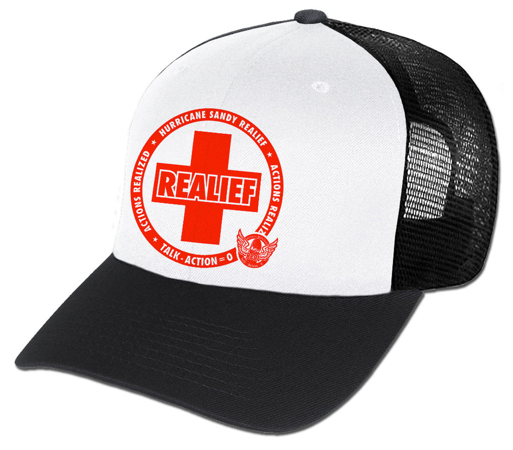 Real Hurricane Sandy REALief Mesh Men's Trucker Hat - White/Black