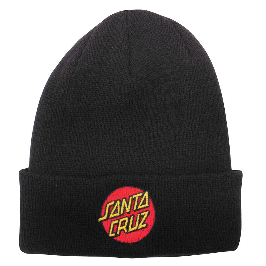 Santa Cruz Classic Dot Long Shoreman Men's Beanie - One Size Fits All - Black