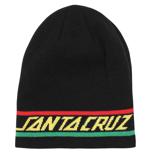 Santa Cruz Rasta Strip Long Shoreman Men's Beanie - One Size Fits All - Black