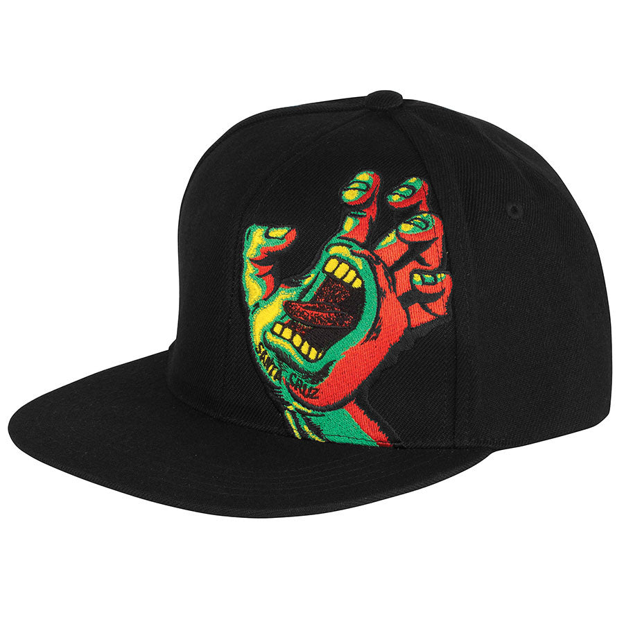 Santa Cruz Rasta Hand Adjustable Snapback Twill Hat - Black