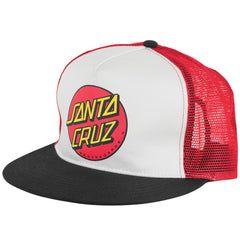 Santa Cruz Classic Dot Trucker Mesh Men's Hat - White/Black/Red
