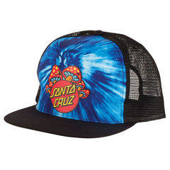 Santa Cruz Shroom Dot Trucker Mesh Men's Hat - OS - Blue Tie Dye/Black - Men's Hat