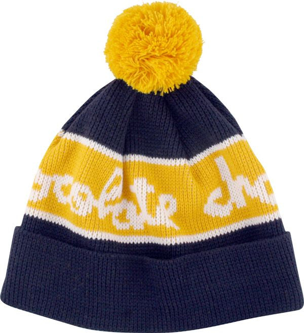 Chocolate Pom Pom Men's Beanie - Blue/Yellow