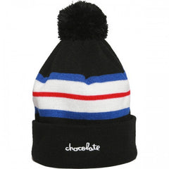 Chocolate Chunk Stripe Pom Men's Beanie - Black