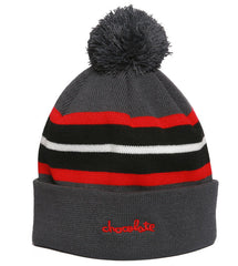 Chocolate Chunk Stripe Pom Men's Beanie - Charcoal
