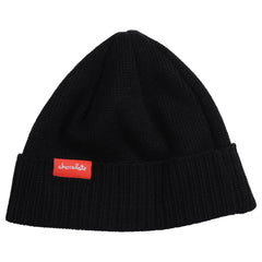 Chocolate Chunk Label Fold Men's Beanie - Black
