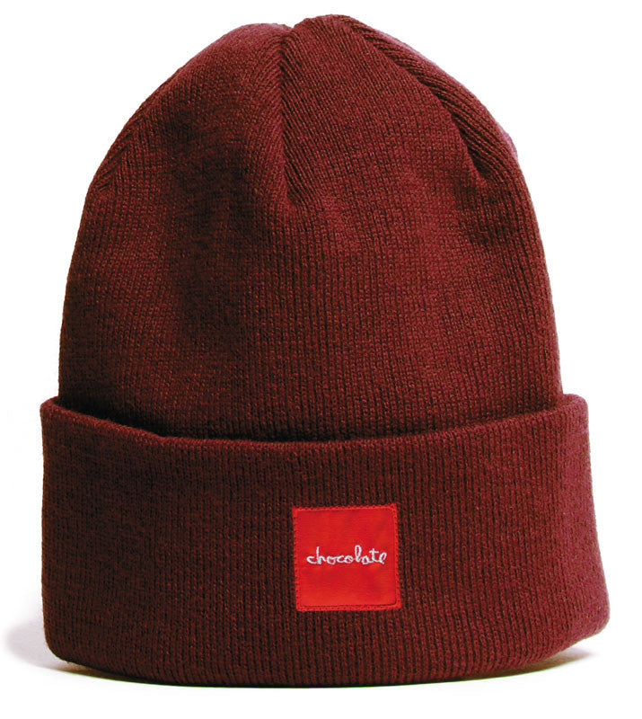 Chocolate Red Square Fold Men's Beanie - Maroon