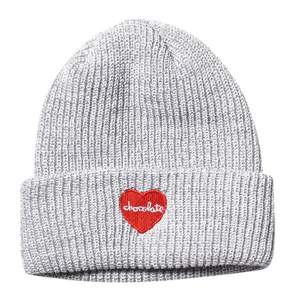 Chocolate Heart Folded Marled Men's Beanie - Grey