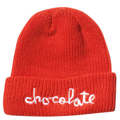 Chocolate Big Chunk Folded Men's Beanie - Red