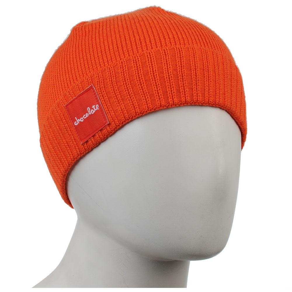 Chocolate Red Square Folded Men's Beanie - Orange - Men's Beanie