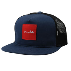 Chocolate Red Square Mesh Men's Hat - Navy
