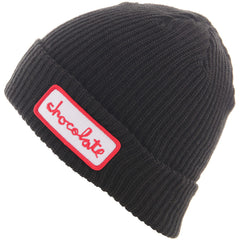 Chocolate Chunk Patch Fold Men's Beanie - Black