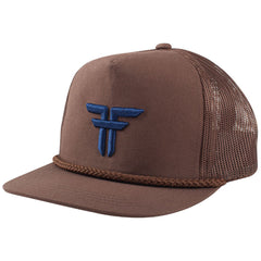 Fallen Trademark Embroidery Snapback Men's Hat - Afghan Brown/Midnight Blue