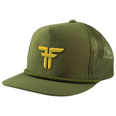 Fallen Trademark Embroidery Snapback Men's Hat - Surplus Green/Dark Yellow
