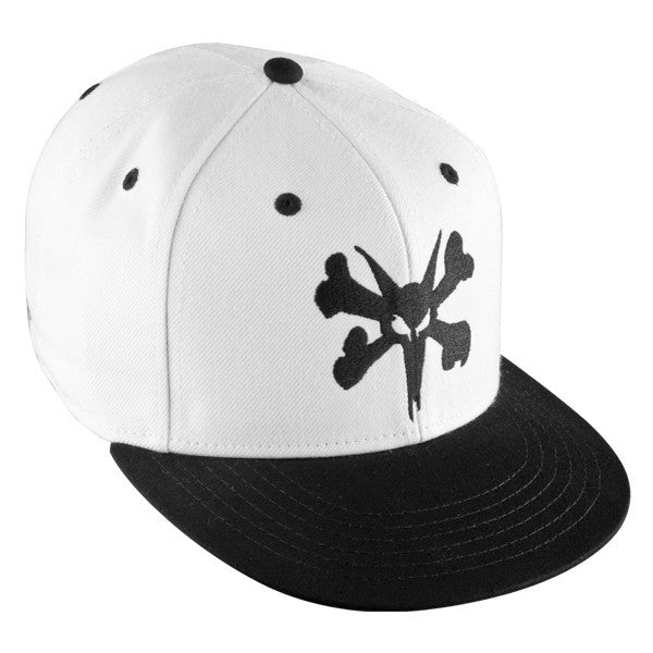 Bones Fitted Bigger Rat Snapback Men's Hat- White/Black