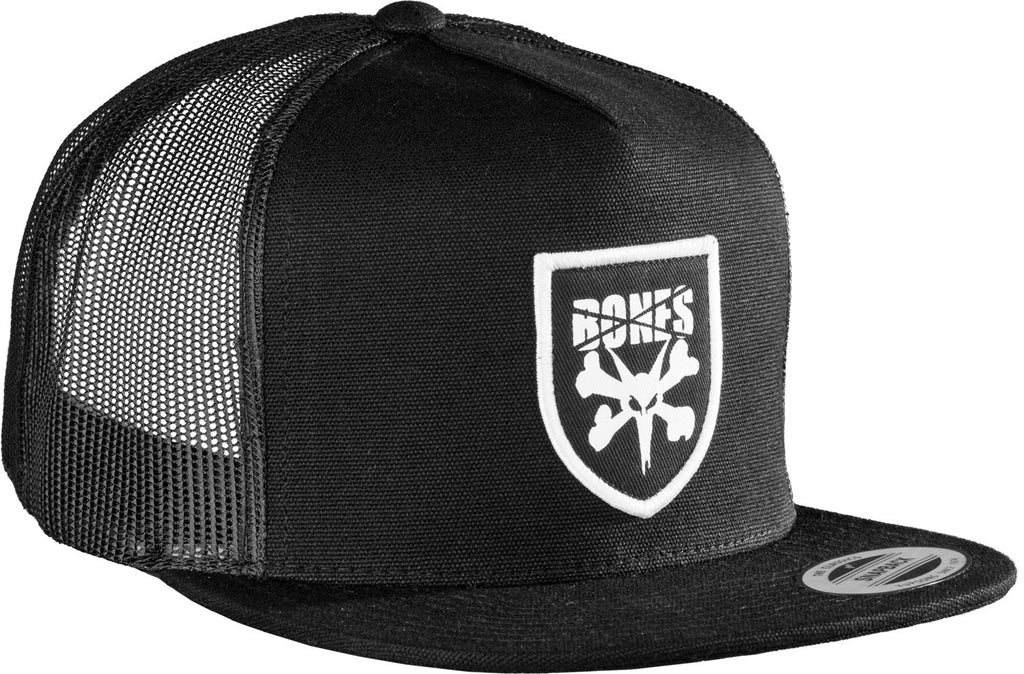 Bones Trucker Shield Snapback - Canvas - Black - Men's Hat