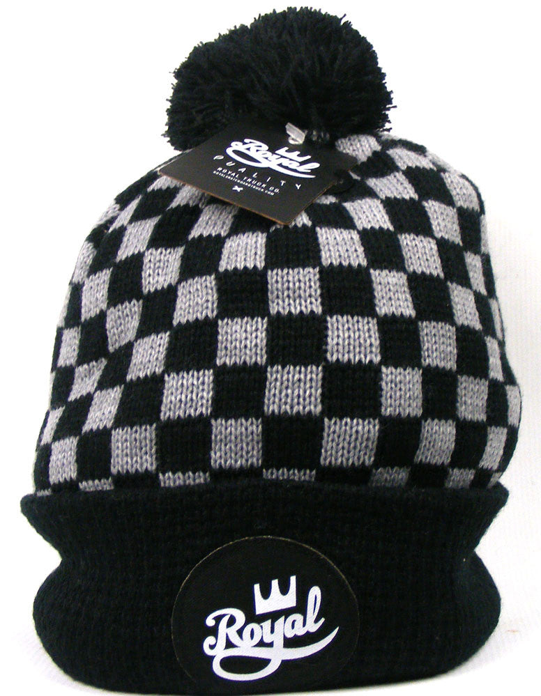 Royal Crown Script Pom Men's Beanie - Black/White