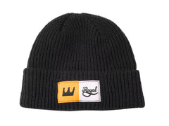 Royal Crown Patch Fold Men's Beanie - Black