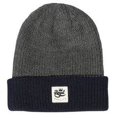 Royal 2 Tone Patch Fold Men's Beanie - Grey