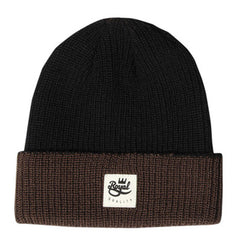 Royal 2 Tone Patch Fold Men's Beanie - Black