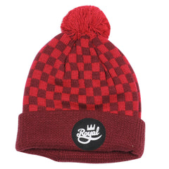 Royal Crown Script Pom Men's Beanie - Red