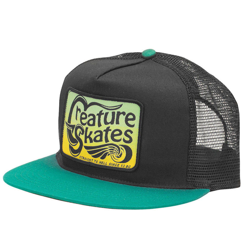 Creature Straight To Hell Trucker Mesh Men's Hat - Black/Kelly - Adjustable