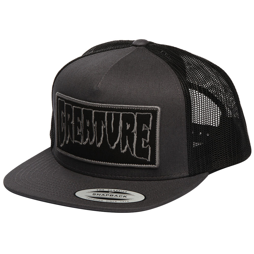 Creature Reverse Patch Trucker Mesh Men s Hat - Dark Grey Black - Adjustable 43c54d26a2d