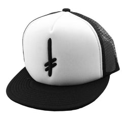 Deathwish Gang Mesh Snapback Men's Hat - Black/White