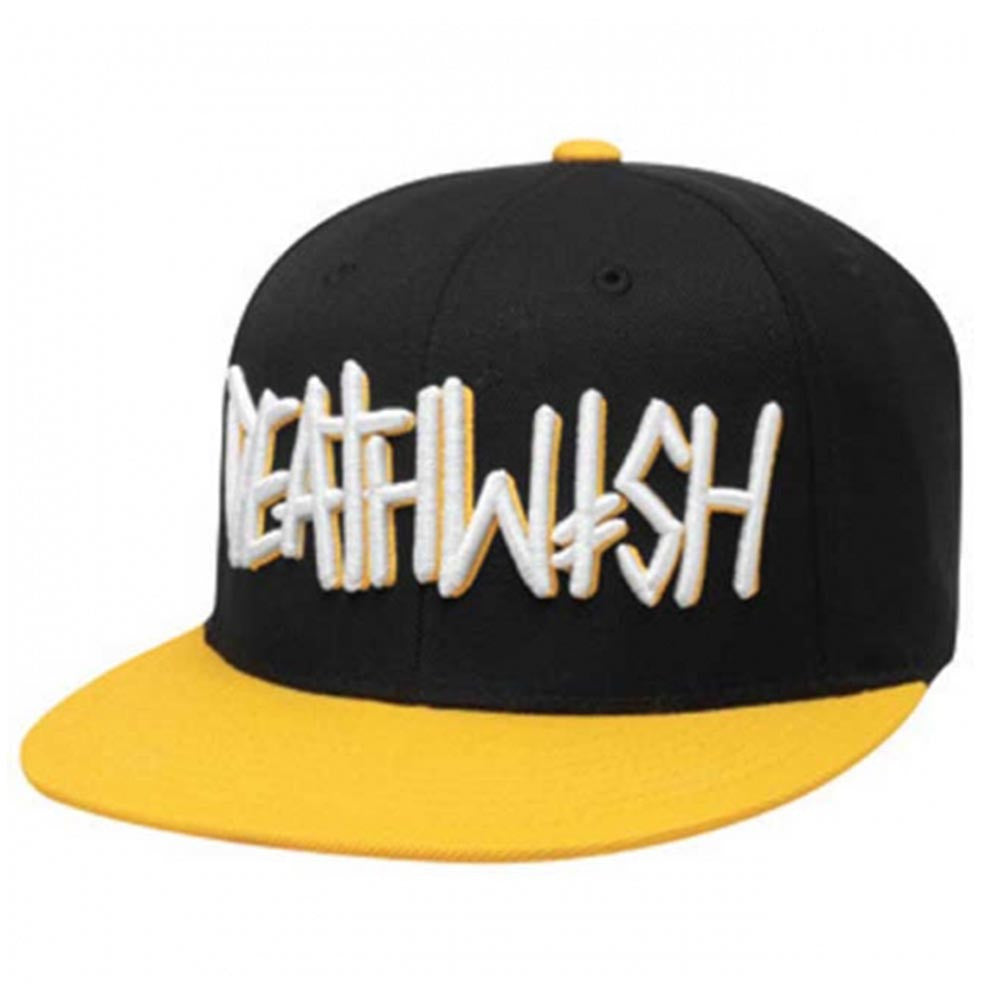 Deathwish Deathspray Snapback Men's Hat - Black/White/Yellow