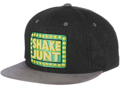 Shake Junt Box Logo Suede Men's Snapback Hat - Black/Grey