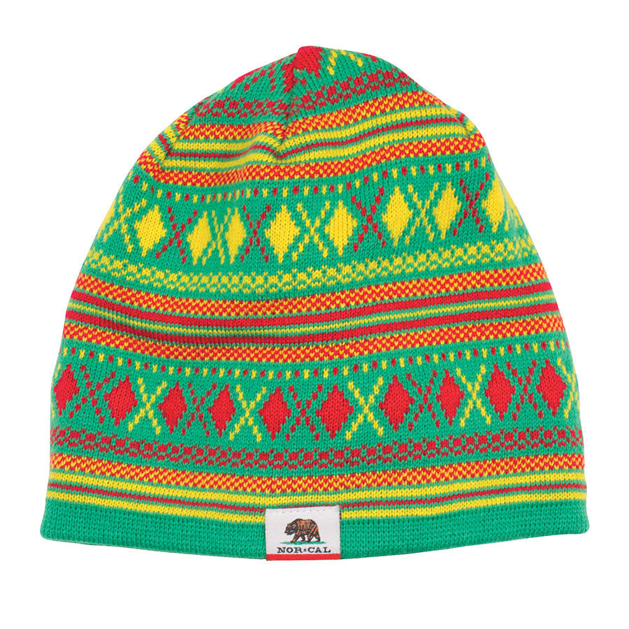 Nor Cal Hibernate Skull Cap Men's Beanie - One Size Fits All - Green/Yellow/Red