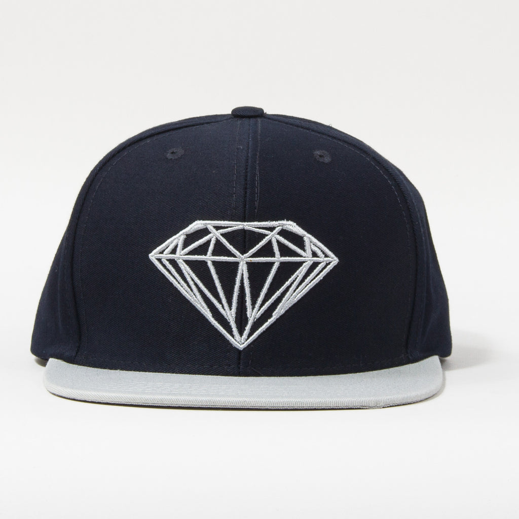 Diamond Brilliant Men s Snapback Hat - Navy Grey · Enlarge Image 3cd4534acde