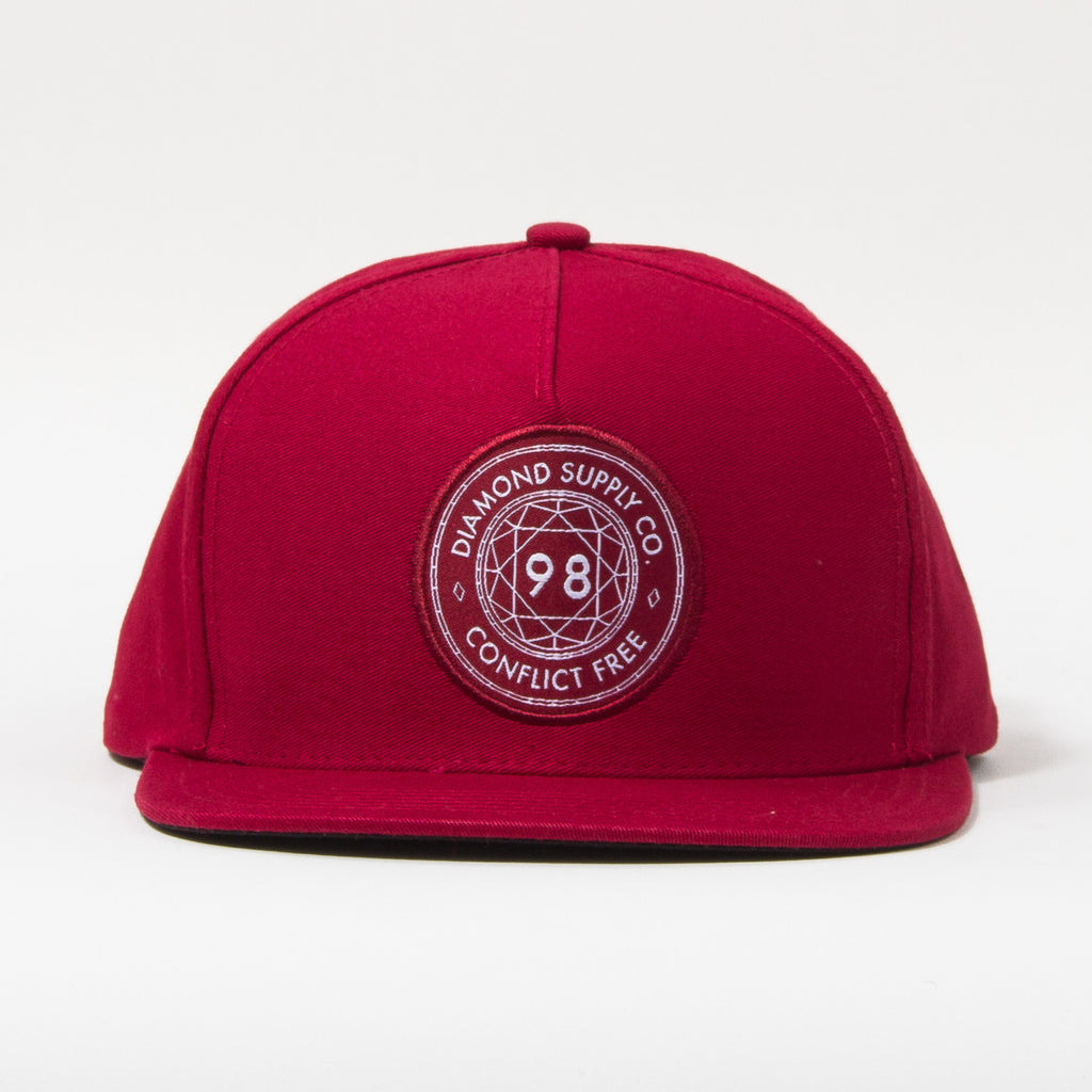 Diamond Conflict Free Men's Snapback Hat - Burgundy
