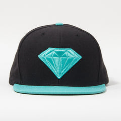 Diamond Emblem Men's Snapback Hat - Black/Diamond Blue
