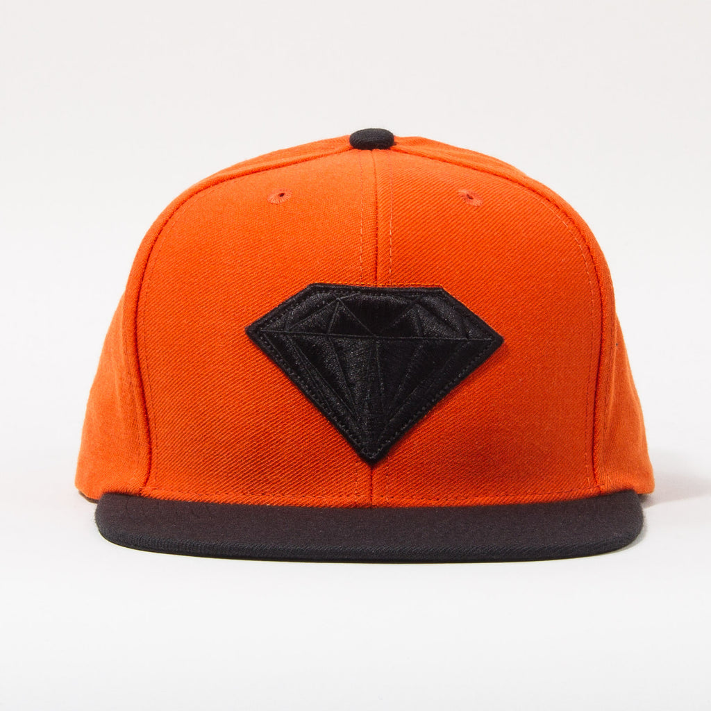 Diamond Emblem Men's Snapback Hat - Orange/Black
