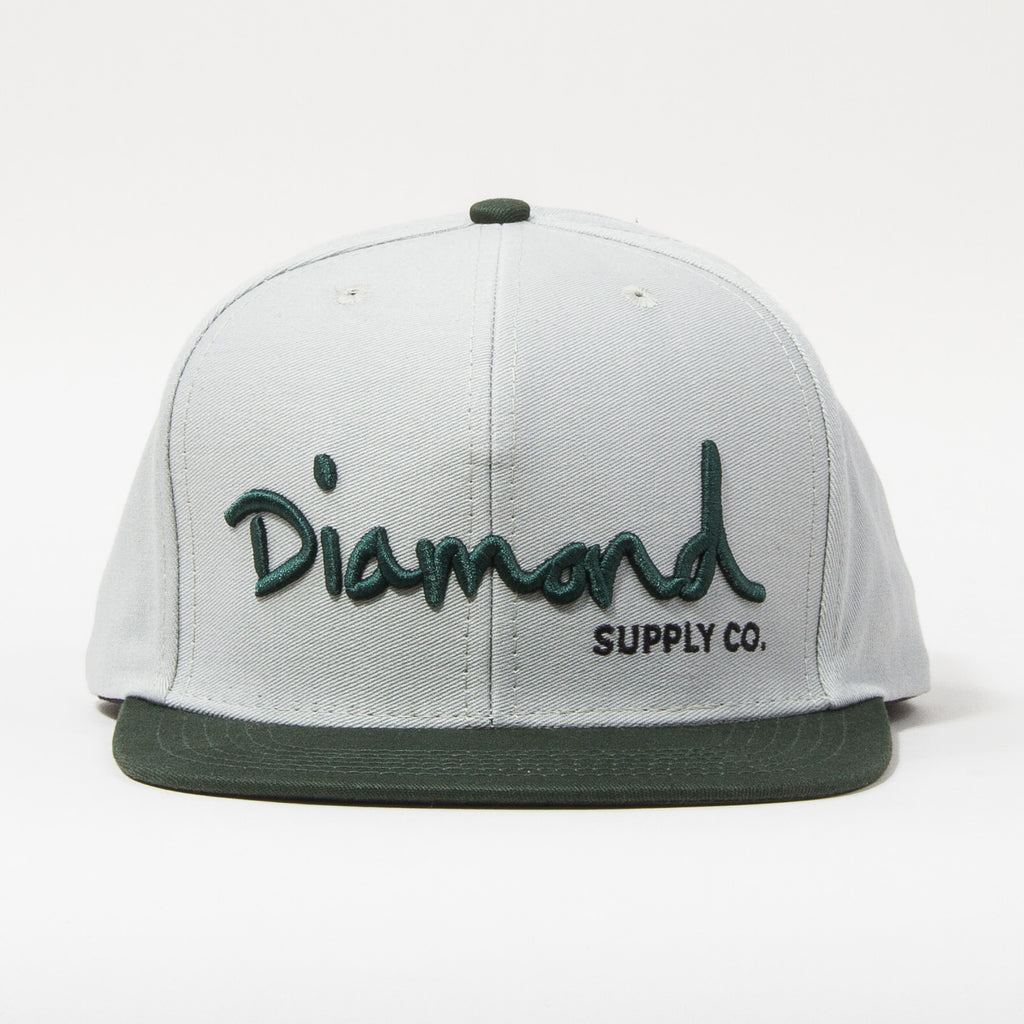 Diamond OG Script Men's Snapback Hat - Grey/Green/Black