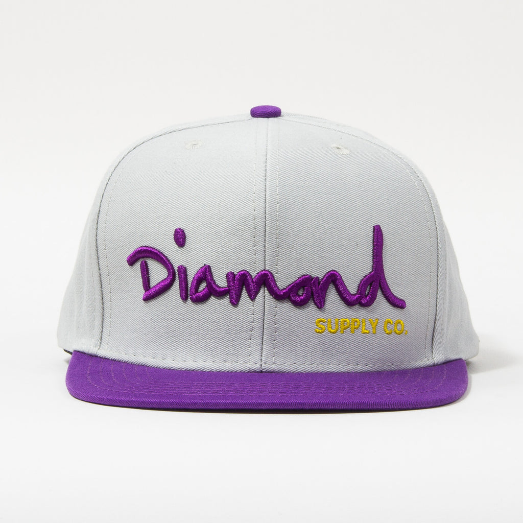 Diamond OG Script Men's Snapback Hat - Grey/Purple/Yellow